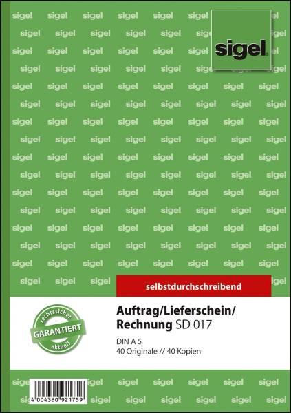 Kombinationsbuch Auftrag Lieferschein Rechnung A5, 1 und 2 Blatt bedruckt, SD, MP, 2 x 40 Blatt