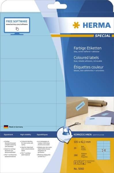 HERMA Universaletiketten 105x42,3mm blau 5060 SuperPrint 280 Stück ablösbar