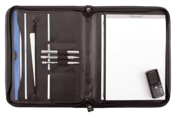 Reißverschlussmappe MILANO A4, Lederimitat, schwarz