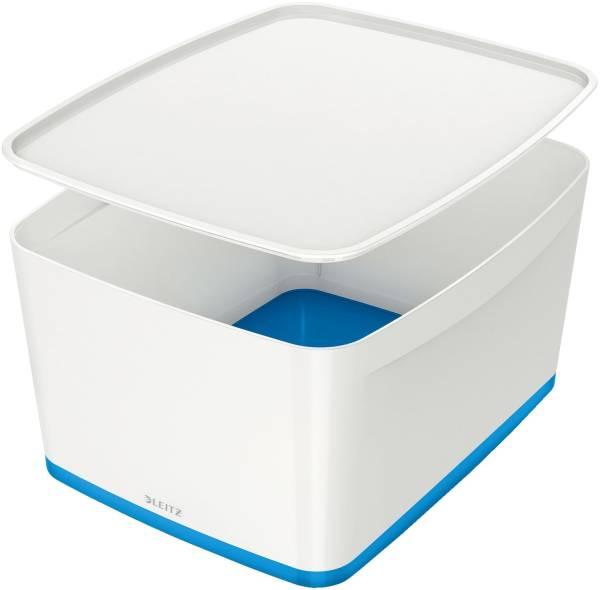LEITZ Ablagebox MyBox groß A4 weiß/blau 5216-10-36 18 Liter