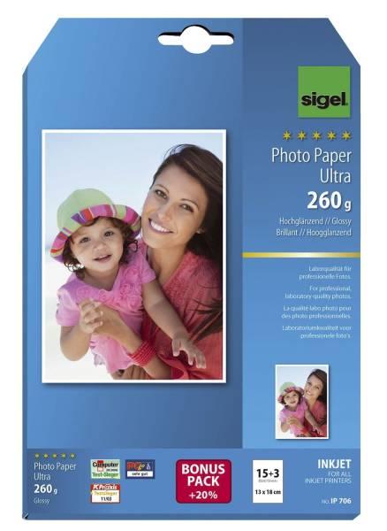 Inkjet Fotopapier Ultra 13x18 cm, hochglänzend, 260 g qm, 18 Blatt