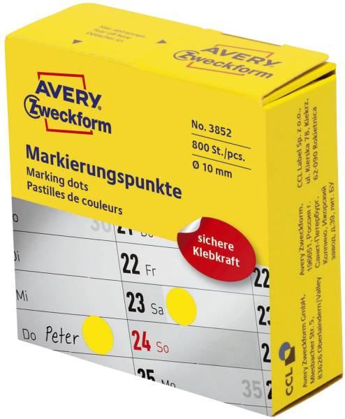3853 Markierungspunkte Ø 10 mm, Spender mit 800 Etiketten, gelb