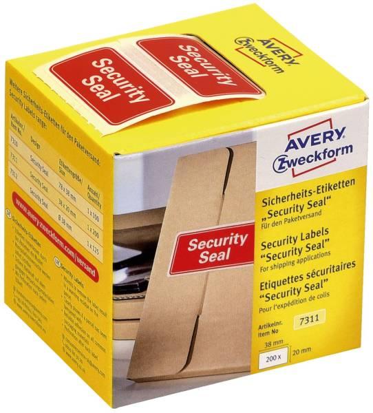 """7311 Sicherheitssiegel """"Security Seal"""" 20 x 38 mm, rot, 200 Stück im Spender"""
