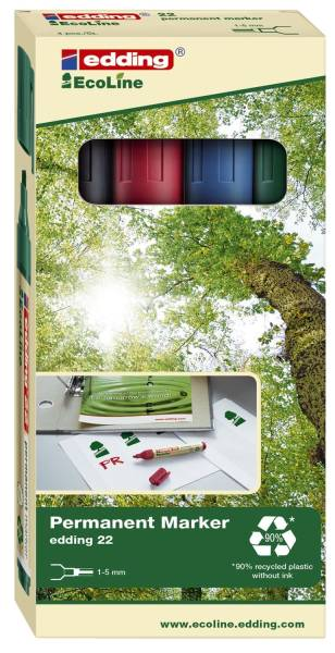 EDDING Permanentmarker 22 Ecoline 1-5mm 4 St. 22-4 sort. Keilspitze nachfüllbar