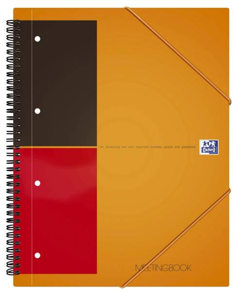 International Meetingbook 2 in 1 Block und Gummizugmappe, A4+, liniert, 80 Blatt, orange