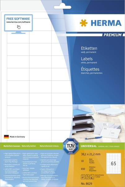 8629 Premium Etikett weiß, 38,1x21,2 mm, permanent, 650 Stück