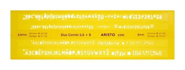 ISONORM Schriftschablone Duo Fineliner, gerade (Mittelschrift), 0,35 0,5 mm