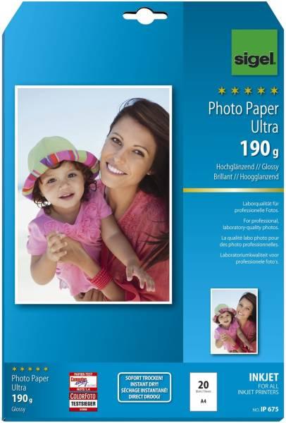 Inkjet Fotopapier Ultra A4, hochglänzend, 190 g qm, 20 Blatt