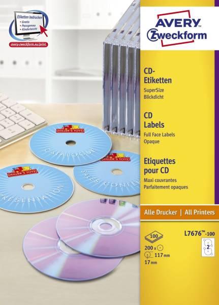AVERY ZWECKFORM Universaletiketten CD DVD weiß L7676-100