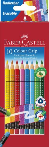 Buntstift Colour GRIP Radierbare 10 Farben sortiert mit Radiergummi, Kartonetui