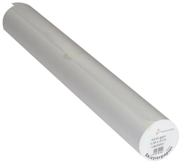 Transparente Skizzierpapierrolle 0,33 x 20m 40 45 g qm