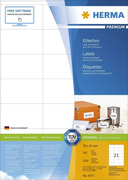 4473 Etiketten Premium A4, weiß 70x41 mm Papier matt 2100 St