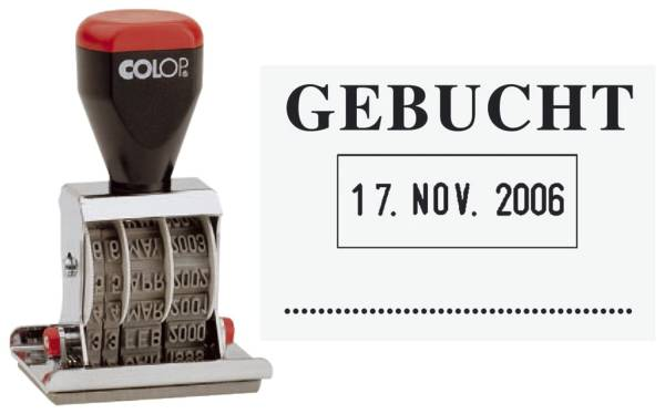 Datum Plattenstempel GEBUCHT + 4 mm Datum