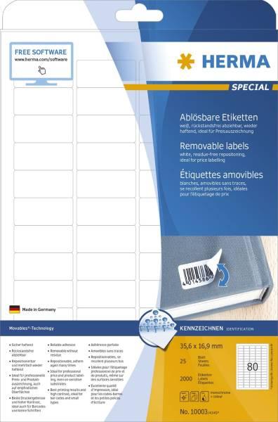 10003 Etiketten A4 weiß 35,6x16,9 mm Movables ablösbar Papier matt 2000 St
