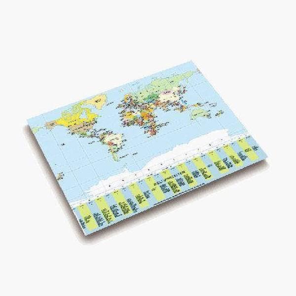 Landkarten Schreibunterlage 53 x 40 cm, WELTKARTE POLITISCH