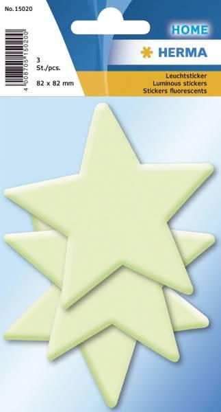 15020 Leuchtsticker Sterne 3 Stück, fluoreszierend