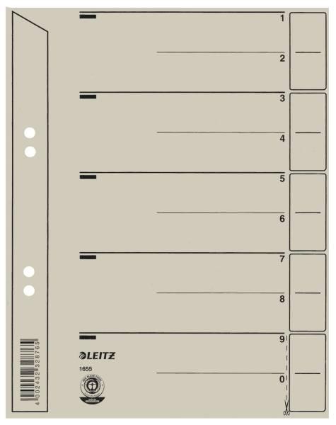 1655 Trennblätter Lochung hinterklebt, Überbreite, A5, grau, 100 Stück