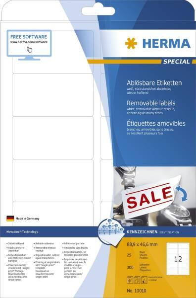 10010 Etiketten A4 weiß 88,9x46,6 mm Movables ablösbar Papier matt 300 St