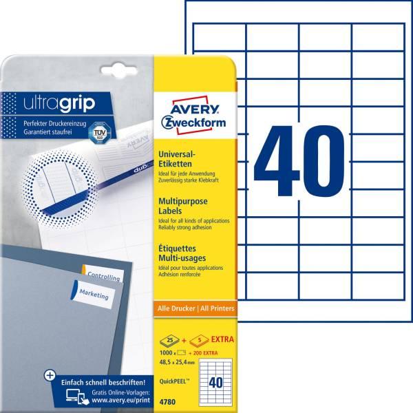 4780 Universal Etiketten 48,5 x 25,4 mm, weiß, 1 200 Etiketten 30 Blatt, permanent