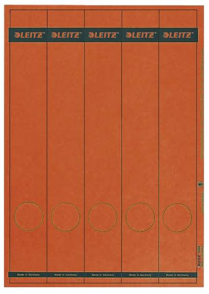 1688 PC beschriftbare Rückenschilder Papier, lang schmal, 125 Stück, rot