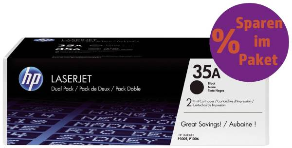Druckkassetten schwarz, 2 x 1 500 Seiten, CB435AD®