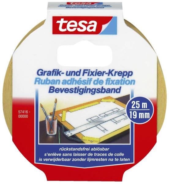 Fixierband Grafik und Fixier Krepp, Papier, 25 m x 19 mm, beige