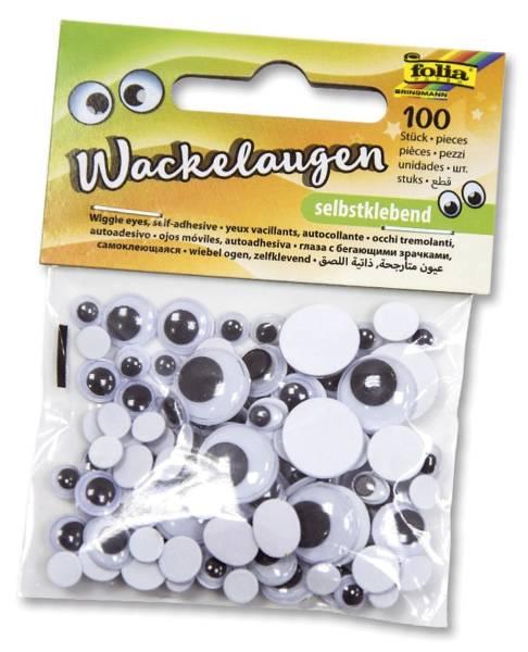 FOLIA Wackelaugen selbstklebend 100ST weiß 7519 in 6 Größen sortiert