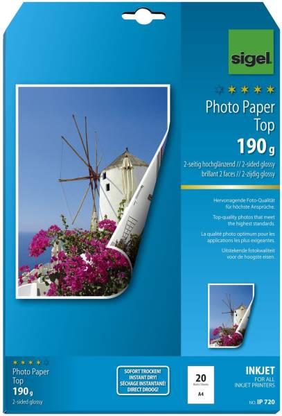 Inkjet Fotopapier Top A4, 2 seitig hochglänzend, 190 g qm, 20 Blatt