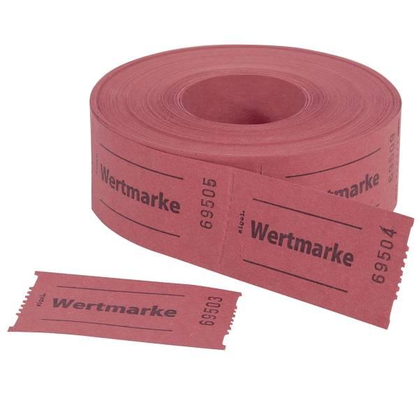 Gutscheinmarken Rollen »Wertmarke« rot, fortlaufend nummeriert, 60x30 mm, 500 Stück