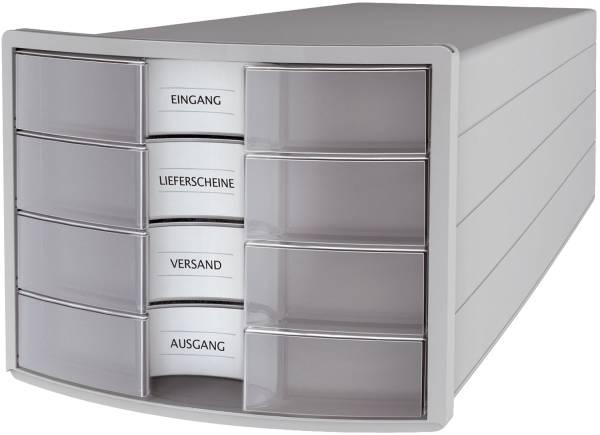Schubladenbox IMPULS A4 C4, 4 geschlossene Schubladen, lichtgrau transluzent klar