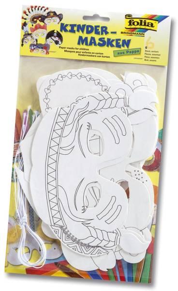 FOLIA Kindermaske 6ST sort. weiß 23219