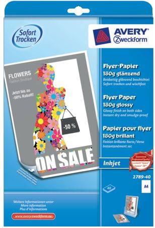 2789 40 Inkjet Flyer Papier, DIN A4, beidseitig beschichtet glänzend, 180 g qm, 40 Blatt