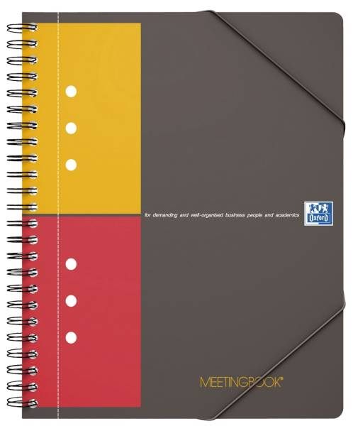 International Meetingbook 2 in 1 Block und Gummizugmappe, A5+, kariert, 80 Blatt, grau