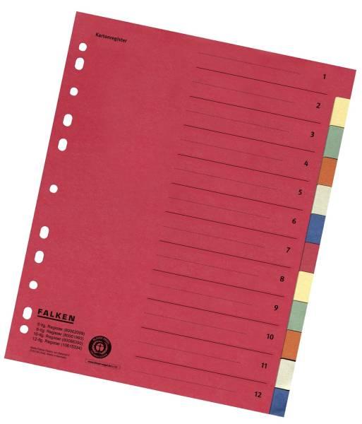 Zahlenregister 1 12, Karton farbig, A4, 6 Farben, gelocht mit Orgadruck