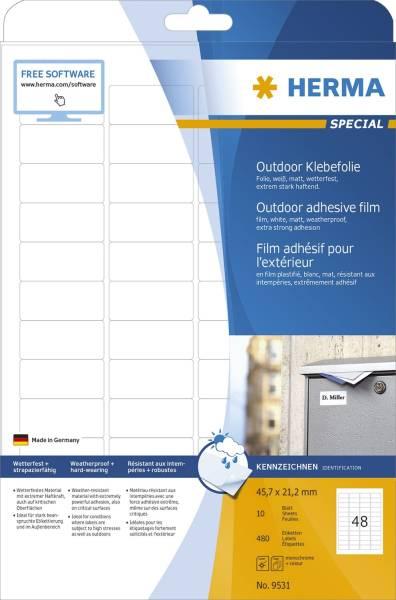 HERMA Folienetiketten Outdoor 45,7x21,2 mm ws 9531 wetterf. 480 St. extra stark