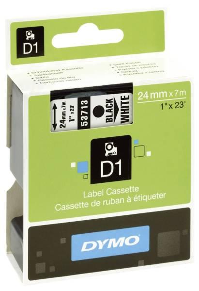 Schriftband D1, Kunststoff, laminiert, 7 m x 24 mm, Schwarz Weiß