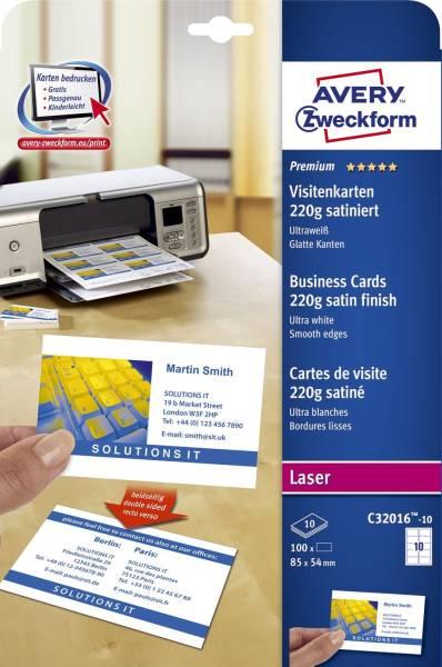 C32016 10 Premium Visitenkarten, 85 x 54 mm, beidseitig beschichtet satiniert, 10 Blatt 100 Stück