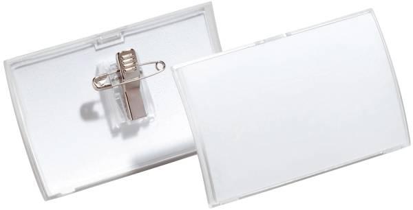 Namensschild CLICK FOLD MIT KOMBIKLEMME, 54 x 90 mm, transparent