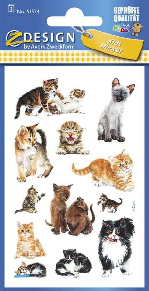 Z Design 53574, Kinder Sticker, Katzenbabies, 3 Bogen 36 Sticker