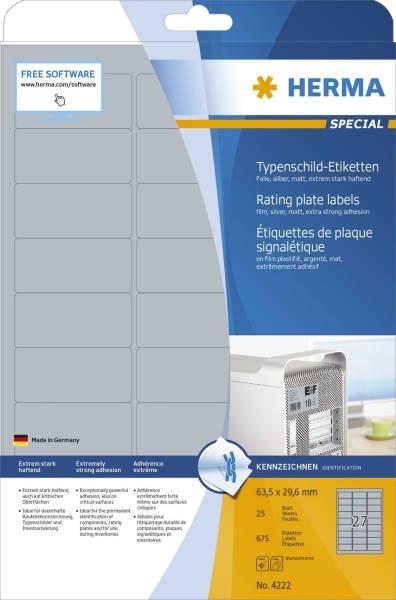 4222 Typenschildetiketten A4 silber 63,5x29,6 mm extrem stark haftend Folie matt 675 St