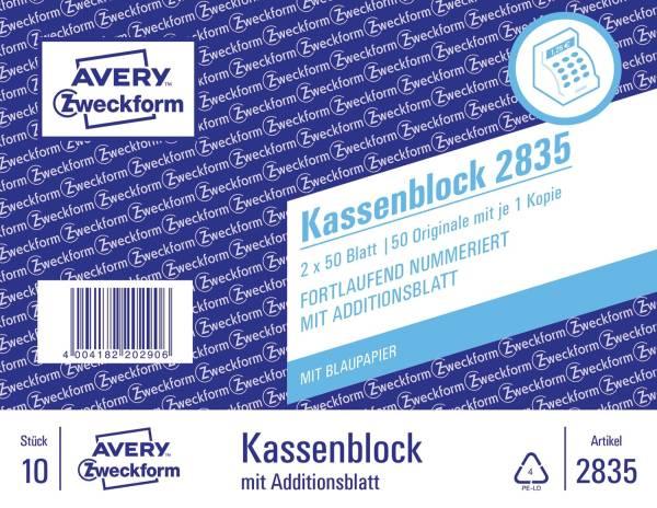 AVERY ZWECKFORM Kassenblock 100x160mm 2835