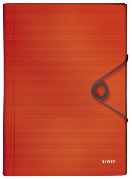 4579 Fächermappe Solid 6 Fächer, A4, 250 Blatt, PP, hellrot