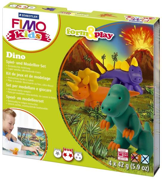 "Modelliermasse FIMO Kids Materialpackung Form & Play ""Dino"", 4 x 42 g®"