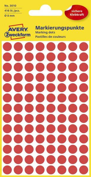 3010 Markierungspunkte Ø 8 mm, 4 Blatt 416 Etiketten, rot