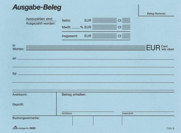 Ausgabe Beleg Block, 2 x 50 Blatt, DIN A5 quer, mit Durchschreibepapier