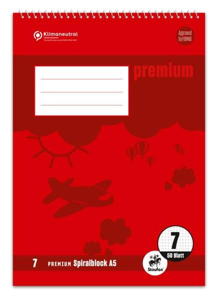 STAUFEN PREMIUM Spiralblock A5 40BL Lin.7 grau 734042107