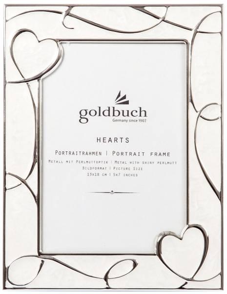"""Bilderrahmen Portrait """"Hearts"""" creme silber, für 1 Foto 13 x 18 cm"""