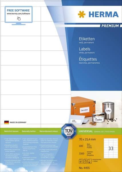 HERMA Universaletiketten 70x25,4 mm weiß 4455 Premium 3300 St. permanent