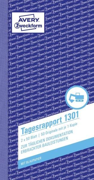 1301 Tagesrapport, 1 und 2 Blatt bedruckt, 105 x 200mm, 2 x 50 Blatt
