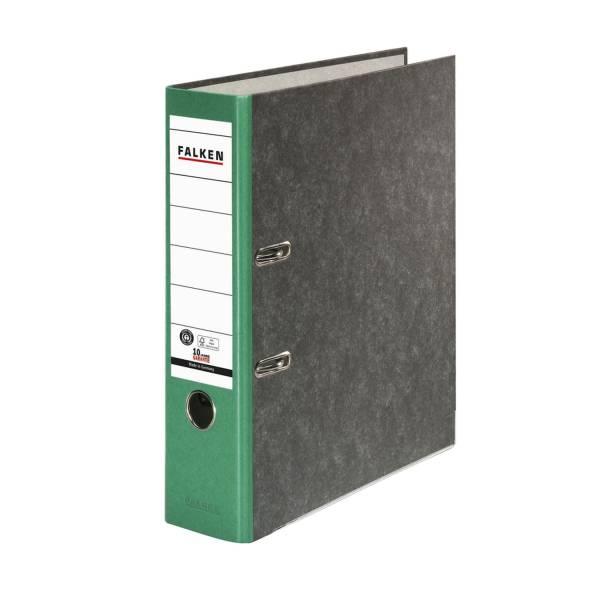 FALKEN Ordner Wolkenmarmor A4 8cm sw/grün 80024714 Recycling